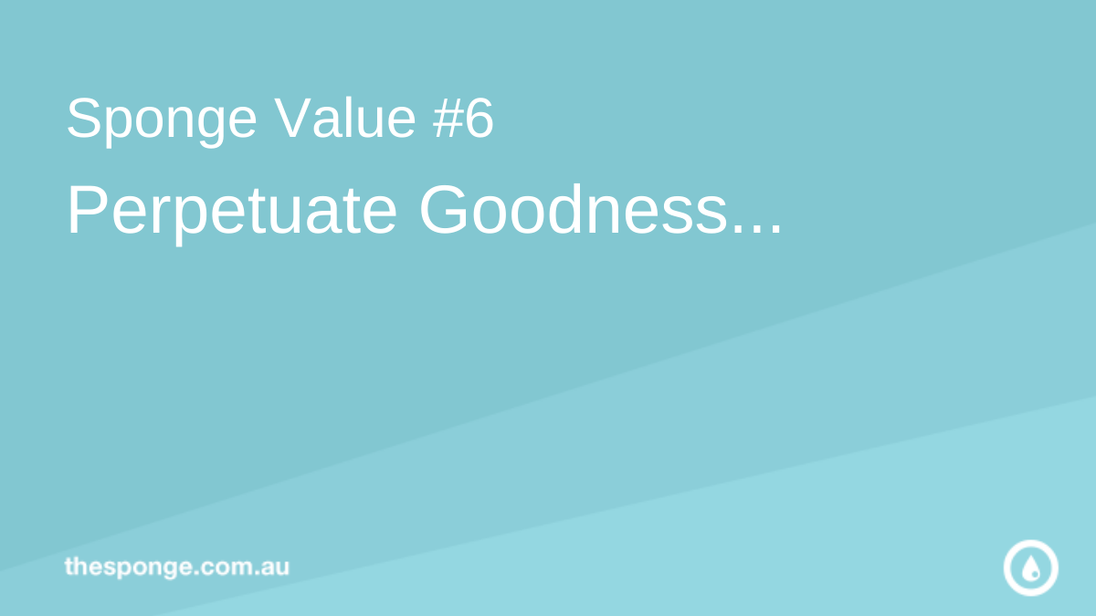 Sponge Value #6: Perpetuate Goodness