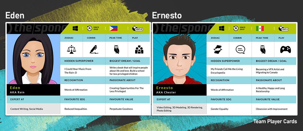 Eden and Ernesto Team Player Cards
